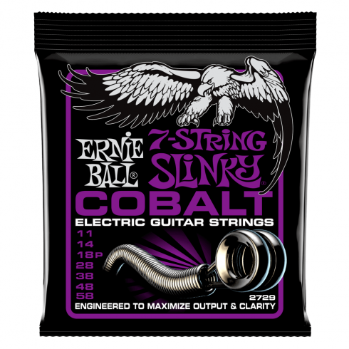Ernie Ball 2729 Cobalt Electric Guitar Strings 11-58 7-String Power Slinky