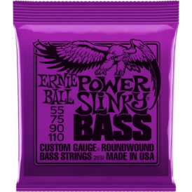 Ernie Ball 2831 4-String Nickel Wound Power Slinky 55-110 Long Scale Bass Guitar Strings