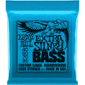 Ernie Ball 2835 4-String Nickel Wound 40-95 Long Scale Bass Guitar Strings 40-95 Extra Slinky