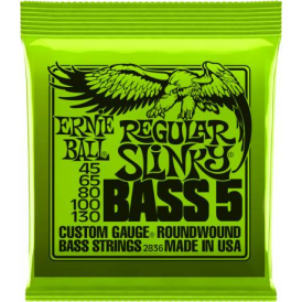 Ernie Ball 2836 Nickel Wound Bass Guitar Strings 45-130 5-String Regular Slinky