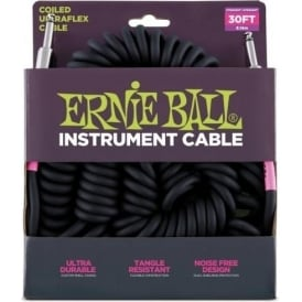 Ernie Ball 30ft Black UltraxFlex Coiled Instrument Guitar Cable Straight Jacks 6044