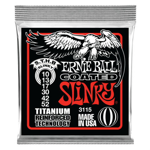 Ernie Ball 3115 Titanium Reinforced Coated Electric Guitar Strings 10-52 Skinny Top Heavy Bottom