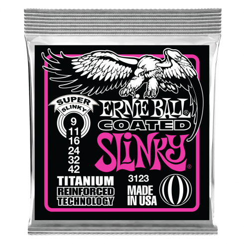 Ernie Ball 3123 Titanium Reinforced Coated Electric Guitar Strings 9-42 Super Slinky