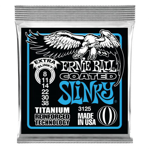 Ernie Ball 3125 Titanium Reinforced Coated Electric Guitar Strings 8-38 Extra Slinky
