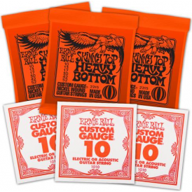 Ernie Ball 3215 Nickel Wound Electric Guitar Strings 10-52 STHB Slinky 3-Pack with 3-Pack of High E-Strings Bundle