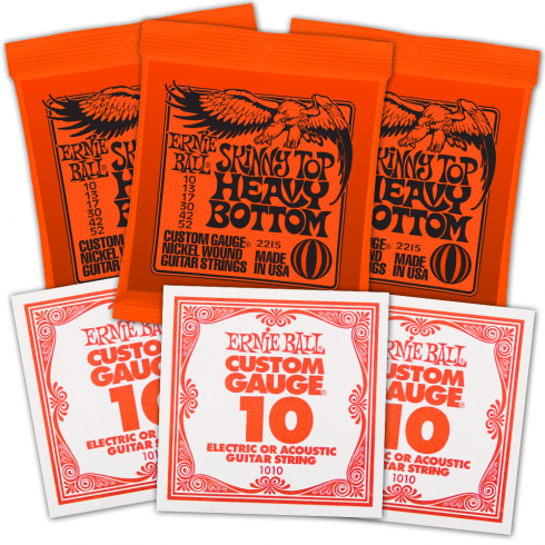 Ernie Ball 3215 Nickel Wound Electric Guitar Strings 10-52 STHB Slinky 3-Pack with 3-Pack of High E-Strings