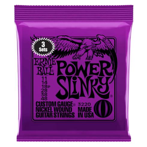 Ernie Ball 3220 Nickel Wound Electric Guitar Strings 11-48 Power Slinky 3-Pack