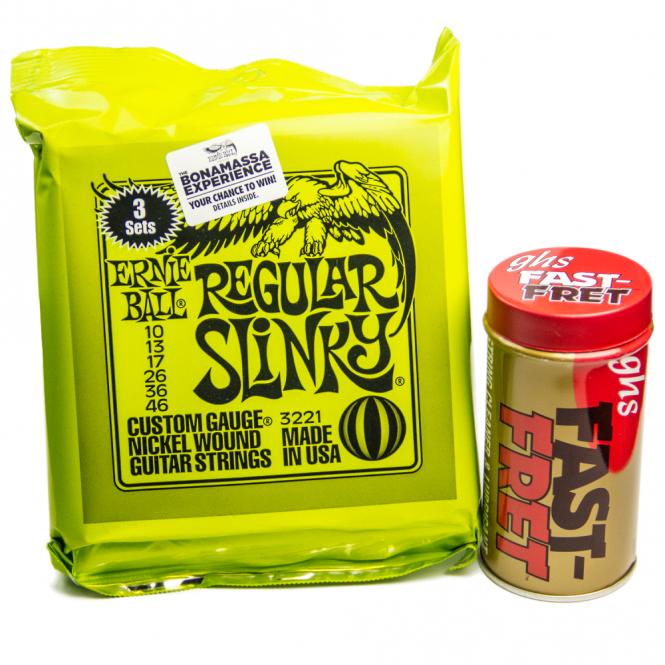 Ernie Ball 3221 3 Sets Regular Slinky Electric Guitar Strings 10-46 + GHS Fast Fret Value Bundle Bundle