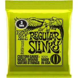Ernie Ball 3221 Nickel Wound Electric Guitar Strings 10-46 Regular Slinky 3-Pack