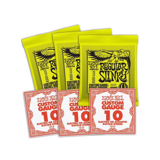 3221 Nickel Wound Electric Guitar Strings 10-46 Regular Slinky 3-Pack with 3-Pack of High E-Strings Bundle