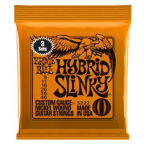Ernie Ball 3222 Nickel Wound Electric Guitar Strings 9-46 Hybrid Slinky 3-Pack