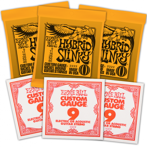 Ernie Ball 3222 Nickel Wound Electric Guitar Strings 9-46 Hybrid Slinky 3-Pack with 3-Pack of High E-Strings