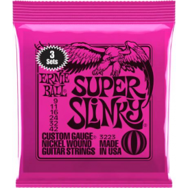 Ernie Ball 3223 Nickel Wound Electric Guitar Strings 9-42 Super Slinky 3-Pack