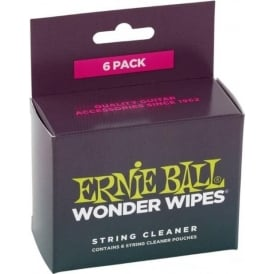 Ernie Ball 4277 Wonder Wipes 6-Pack Guitar String Cleaner