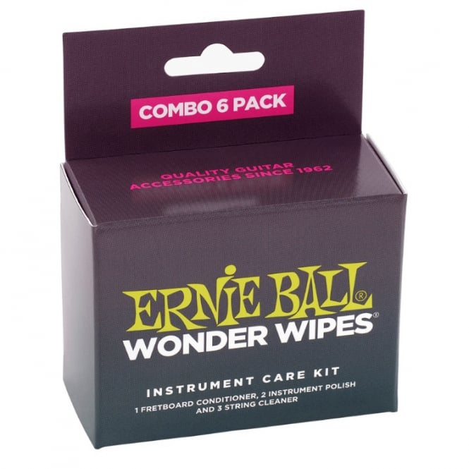 Ernie Ball 4279 Wonder Wipes 6-Pack Combo Pack of Guitar Care Wipes
