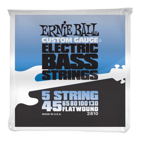 Ernie Ball 5-String Stainless Steel 45-130 Flatwound Bass Guitar Strings
