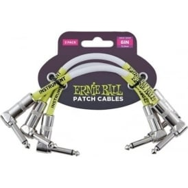 Ernie Ball 6 inch White Patch Cable Angled 3-Pack - ideal for Effects Pedals