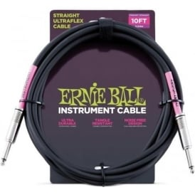 Ernie Ball Black Instrument Guitar Cable Straight Jacks