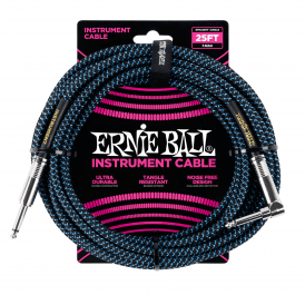 Ernie Ball Braided Instrument Cable, 25ft, Black/Blue, Straight-Angled