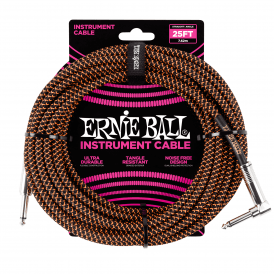 Ernie Ball Braided Instrument Cable, 25ft, Black/Orange, Straight-Angled