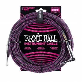Ernie Ball Braided Instrument Cable, 25ft, Black/Purple, Straight-Angled