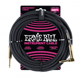 Ernie Ball Braided Instrument Cable, 25ft, Black, Straight-Angled