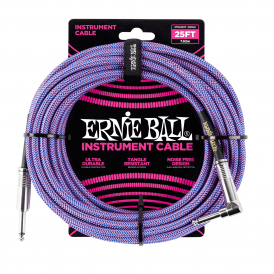 Ernie Ball Braided Instrument Cable, 25ft, Blue/Purple, Straight-Angled