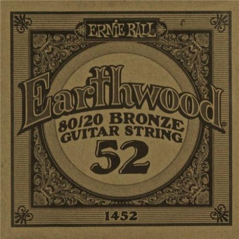 Ernie Ball Earthwood 1452 80/20 Bronze Acoustic Guitar Single String .052