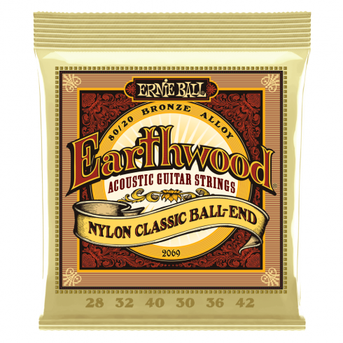 Ernie Ball Earthwood 2069 80/20 Bronze Folk Acoustic Guitar Strings 28-42 Nylon Ball End