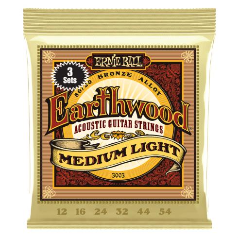 Ernie Ball Earthwood 3003 80/20 Bronze Acoustic Guitar Strings 12-54 Med Light 3-Pack