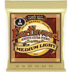 Earthwood 3003 80/20 Bronze Acoustic Guitar Strings 12-54 Med Light 3-Pack