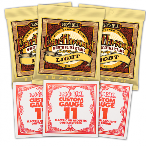 Ernie Ball Earthwood 3004 80/20 Bronze Acoustic Guitar Strings 11-52 Light 3-Pack with 3 Spare High E .011 Gauge