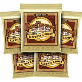 Earthwood Extra Light 80/20 Bronze 2006 Acoustic Guitar Strings 10-50, 5-Pack