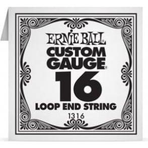 Ernie Ball 1316 Plain Steel Loop End Single String .016