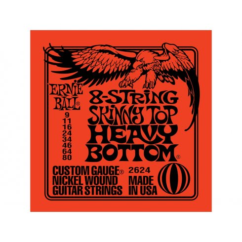 Ernie Ball 2624 8-String Nickel Wound 09-80 Electric Guitar Strings 2-Pack