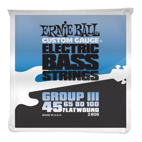 Ernie Ball Group III Stainless Steel 45-100 Flatwound Bass Guitar Strings