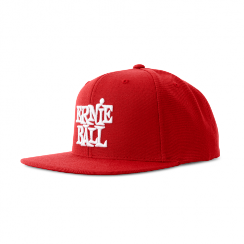 Ernie Ball Official Red with Stacked White Logo Hat