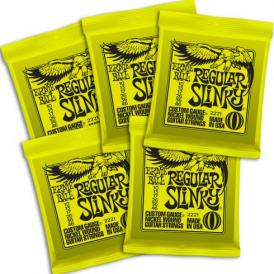 Ernie Ball Regular Slinky 2221-5 Nickel Guitar Strings 10-46, 5-PACK Bundle