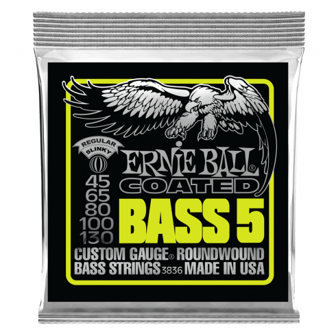 Ernie Ball Titanium Reinforced 5-String Regular Slinky 45-130 Coated Bass Guitar Strings