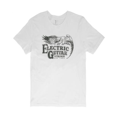 Ernie Ball Vintage Electric Guitar Strings Logo T-Shirt, Black on White