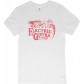 Ernie Ball Vintage Electric Guitar Strings Logo T-Shirt, Red on White