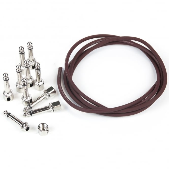 Evidence Audio Burgundy Monorail Patch Cable Kit, 10ft with 10x SIS Solderless Right Angle Plugs