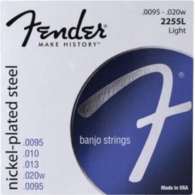 Fender 2255 Nickel Plated Steel 5-String Banjo Strings 9.5-20