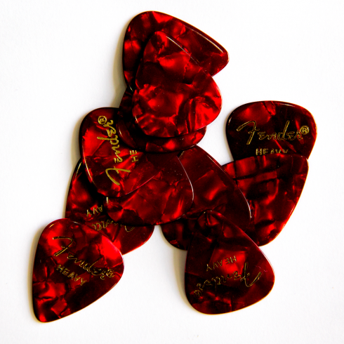 Fender 351 Classic Celluloid Red Moto Heavy Guitar Plectrum 12-Pack 098-0351-909