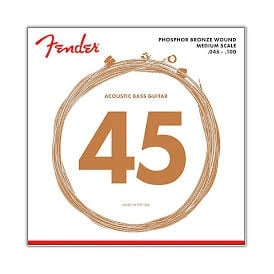 Fender 4-String Phosphor Bronze Acoustic Bass Guitar Strings 45-100 Medium Scale 7060