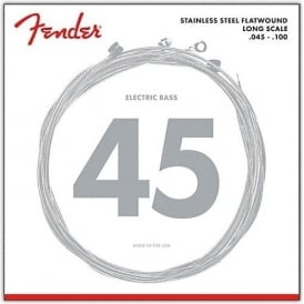Fender 4-String Stainless Steel Flatwound Bass Guitar Strings 45-100