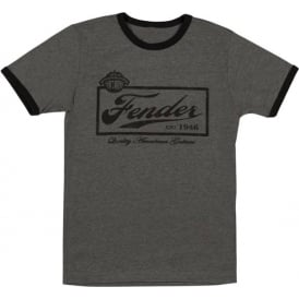 Fender Beer Label Mens Ringer T-Shirt, Grey