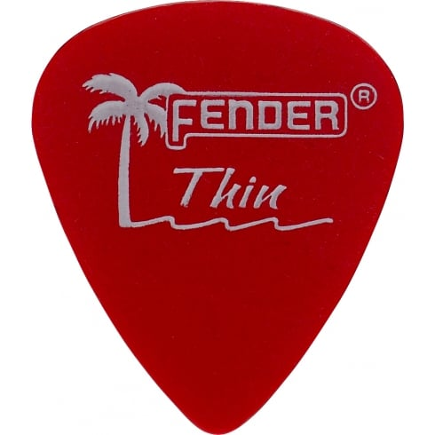 Fender California Clear Guitar Picks 12-Pack Candy Apple Red Thin