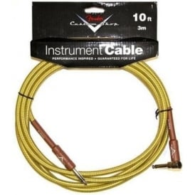 Fender Custom Shop 10ft Tweed Instrument Guitar Cable Angled to Straight 099-0820-029