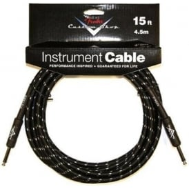 Fender Custom Shop 15ft Black Tweed Instrument Cable Straight to Straight
